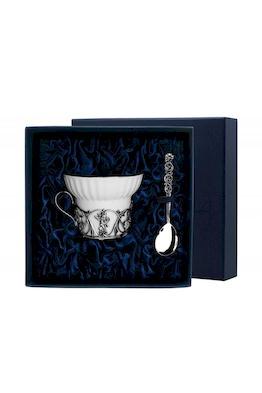 """Серебряная чайная чашка """"Ангел"""" с ложкой"""