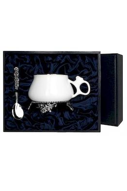 """Серебряная чайная чашка """"Билибина"""" с ложкой"""