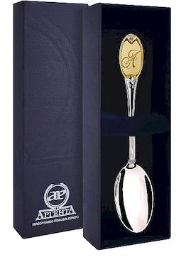 Ложка чайная с логотипом «А» с позолотой