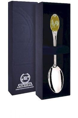 Ложка чайная с логотипом «Золотой Петушок» с позолотой