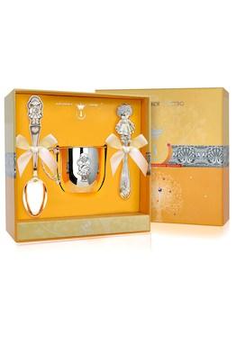 Набор детского серебра «Девочка» с погремушкой