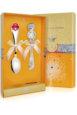 Набор детского серебра КД «Принцесса» с погремушкой