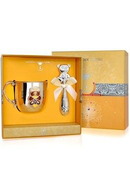 Набор детского серебра с кружкой «Мишка» КД и погремушкой
