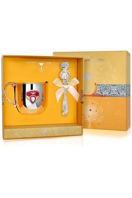 Набор детского серебра с кружкой «Принцесса» КД с погремушкой