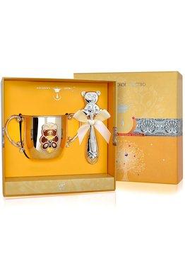 Набор детского серебра с поильником «Мишка» КД и погремушкой