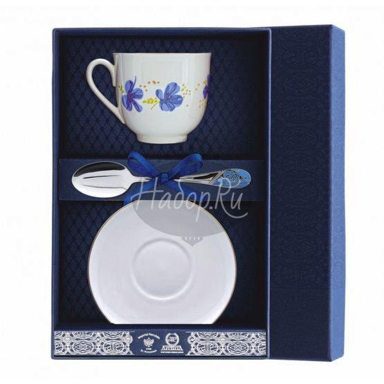 """Набор фарфоровый чайный """"Голубые цветы"""" 001Ф03"""