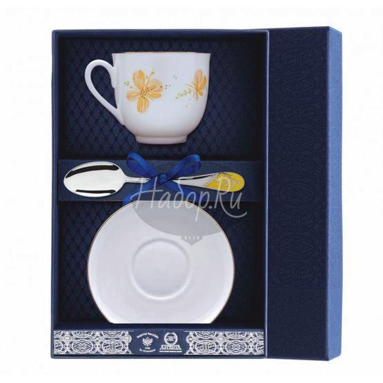 """Набор фарфоровый чайный """"Жёлтые цветы"""" 002Ф03"""