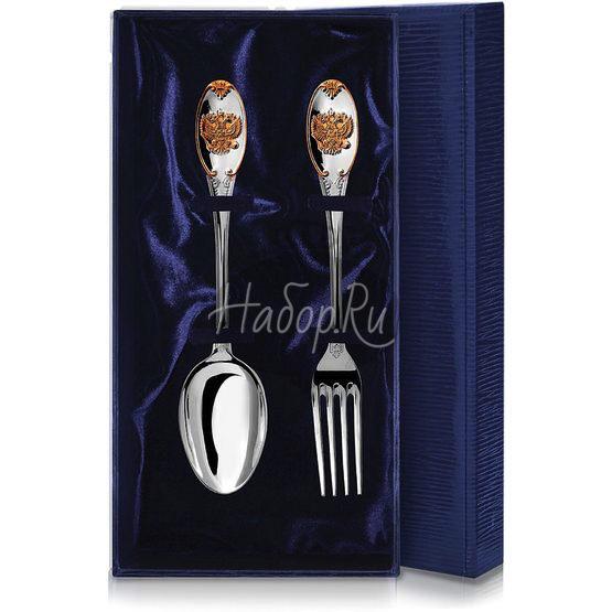 Набор из 2 столовых серебряных приборов «Единство» с позолотой