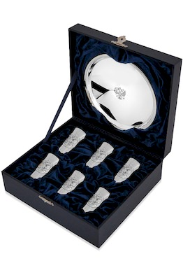 Набор из 6 серебряных стопок «Герб» полированных с подносом «Герб»