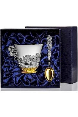 Набор серебряная чайная чашка «Натюрморт» с чернением и позолотой