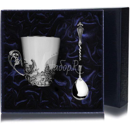 Набор серебряная чайная чашка «Тетерев»