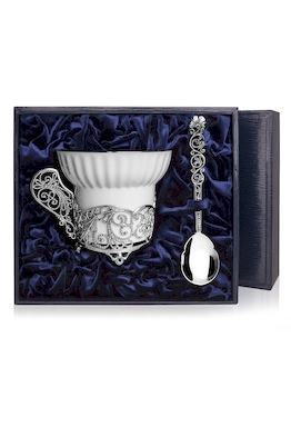 Набор серебряная чайная чашка «Зимние узоры»