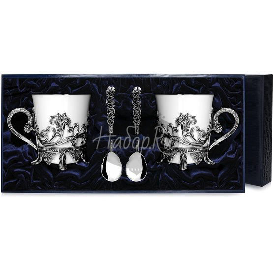 Набор серебряная чайная пара «Цветочная»