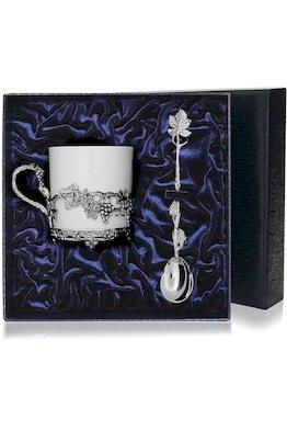 Набор серебряная кофейная чашка «Виноград»