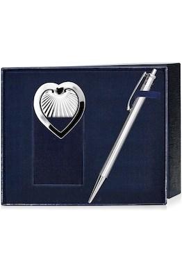 Набор серебряная ручка и закладка для книг