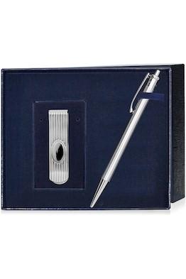 Набор серебряная ручка и зажим для купюр