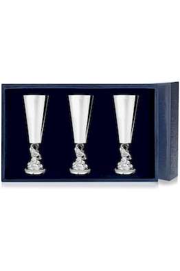 Набор серебряных рюмок «Золотая Рыбка» из 3 предметов