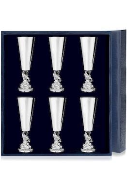 Набор серебряных рюмок «Золотая Рыбка» из 6 предметов