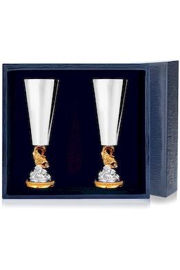 Набор серебряных рюмок «Золотая Рыбка» с позолотой из 2 предметов