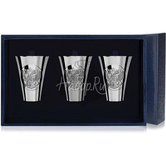 Набор серебряных стопок «Герб» полированных из 3 предметов