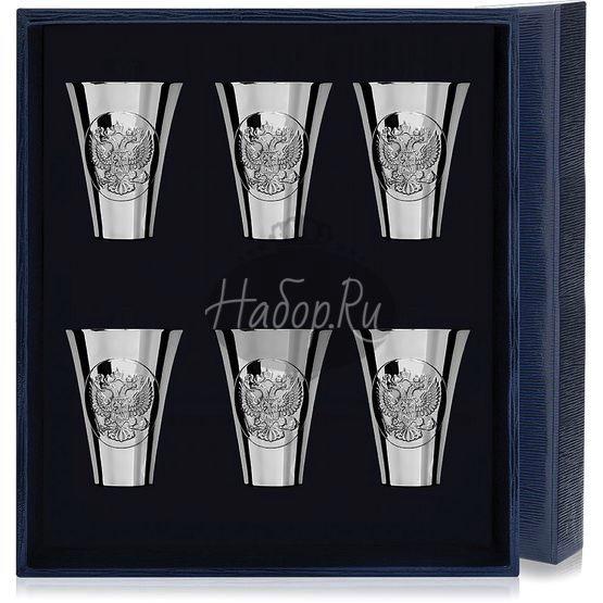 Набор серебряных стопок «Герб» полированных из 6 предметов