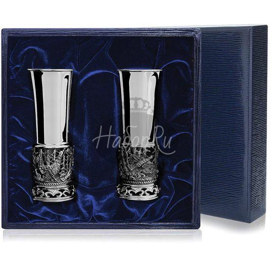 Набор серебряных стопок «Глухари» из 2 предметов с чернением
