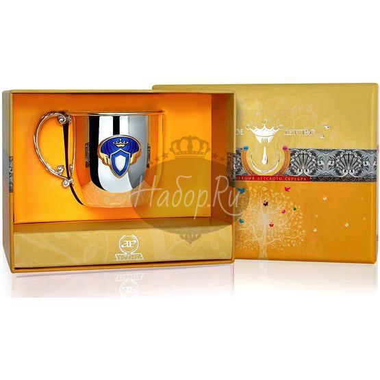 Серебряная детская кружка «Принц» КД с позолотой и эмалью