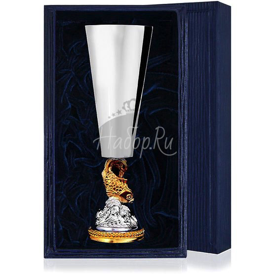 Серебряная рюмка «Золотая рыбка» с позолотой