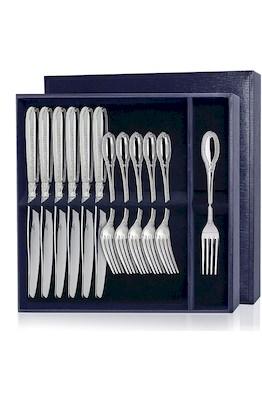 Серебряный десертный набор «Император» 12 предметов (вилки и ножи)