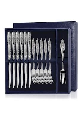 Серебряный десертный набор «Морозко» 12 предметов (вилки и ножи)