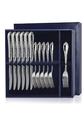 Серебряный десертный набор «Престиж» 12 предметов (вилки и ножи)