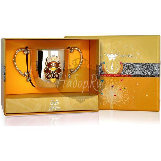 Серебряный детский поильник «Мишка» КД с позолотой и эмалью