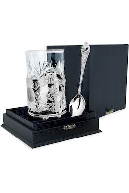 Серебряный набор для чая «Георгий Победоносец» из 3-х предметов