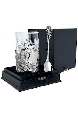 Серебряный набор для чая «Глухарь» с чернением