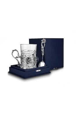 Серебряный набор для чая «Настурция» с чернением из 3-х предметов