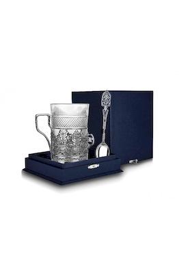 Серебряный набор для чая «Скань» с чернением из 3-х предметов