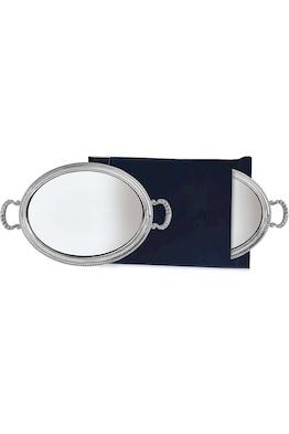 Серебряный поднос овальный с ручками «S.MarСo» 30х37