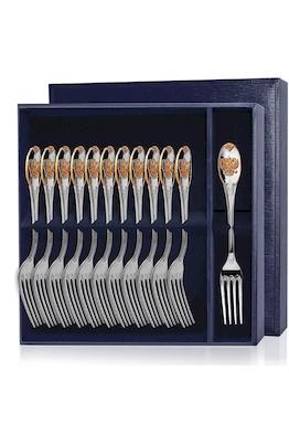 Серебряный столовый набор «Единство» с позолотой 12 предметов
