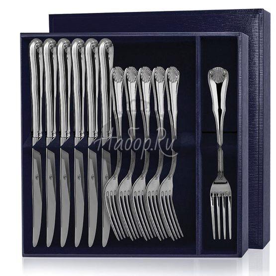 Серебряный столовый набор «Визит» 12 предметов (вилки и ножи)