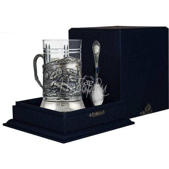 """Набор для чая """"Охотники на привале"""": ложка, стакан, подстаканник с чернением 1025НБ03806"""