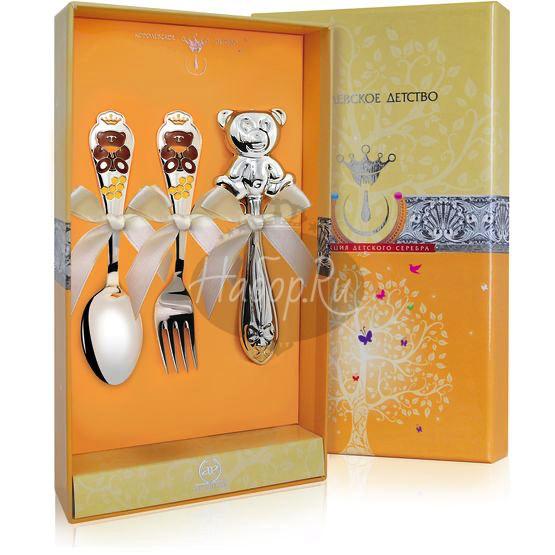 """Набор для малышей КД """"Мишка"""": вилка, ложка, погремушка с позолотой и эмалью 1284НБ05808"""
