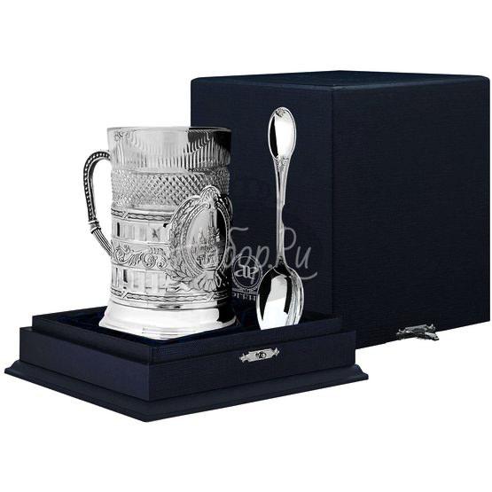 """Набор для чая """"Спасская башня"""" гербовый: ложка, стакан, подстаканник с чернением 1317НБ03806"""