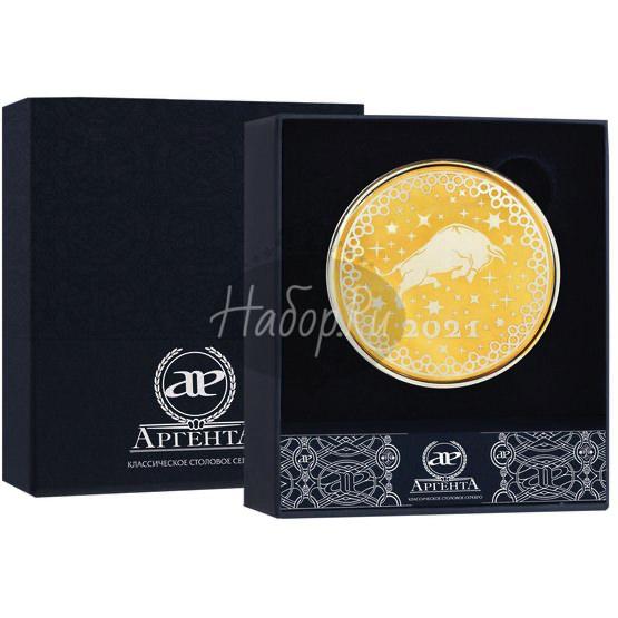 """Монета с логотипом """"Бык"""" с позолотой 1359СВ00802_Бык"""