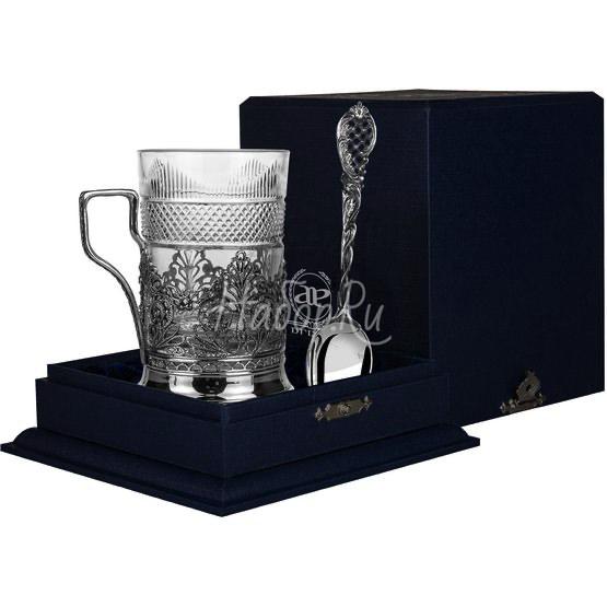 """Набор для чая """"Скань"""": ложка, стакан, подстаканник с чернением 431НБ03806"""