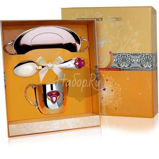 """Набор детский КД """"Принцесса"""": блюдце, кружка, ложка с позолотой и эмалью 491НБ05808"""