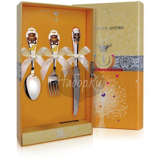 """Набор детский КД """"Мишка"""": вилка, ложка, нож с позолотой и эмалью 559НБ05808"""