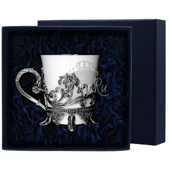 """Чашка чайная """"Цветочная"""" с чернением 563ЧШ03806"""