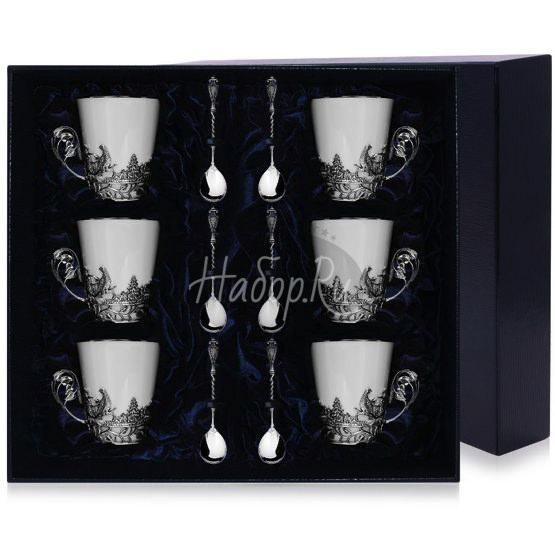 """Набор чайных чашек """"Тетерев"""": ложка, чашка 666НБ03806"""