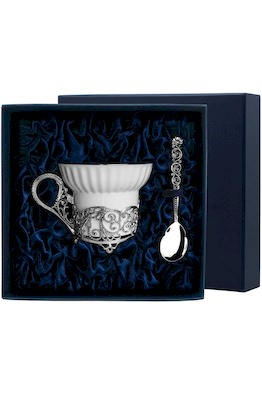 """Набор чайная чашка """"Кружевные узоры"""": ложка, чашка"""