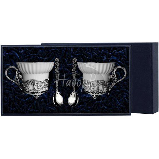 """Набор чайных чашек """"Кружевные узоры"""": ложка, чашка 701НБ03806"""